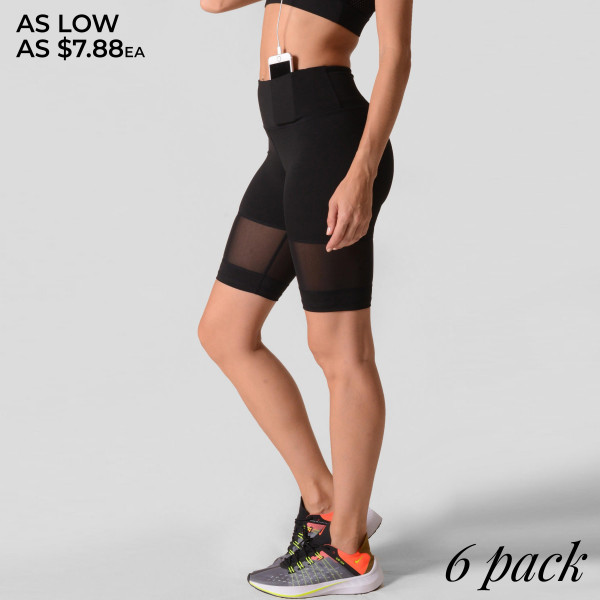 Active Mesh Detail Biker Shorts.  • Elasticized high rise waistband • Breathable mesh panels  • Crop knee length hem  • Soft and stretchy  • Moisture wicking fabric  • Fits like a glove  • 4-way-stretch fabric for a move-with-you feel  • Tummy-flattening waistband with interior hidden pocket  • Flat-locked seaming for extra comfort   Composition: 75% Nylon, 25% Spandex   Pack Breakdown: 6pcs/pack. 2S: 2M: 2L