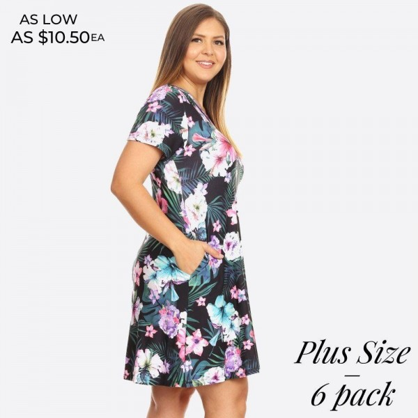 Whatever your dream vacation destination is, just be sure to pack this dress for sitting poolside with a cocktail or going out to dinner!   - Short sleeves, crewneck  - Tropical floral print design  - Soft and stretchy  - Fit and flare silhouette  - Knee length hem  - Two open side pockets holds keys/cash/phone  - Pullover styling  - Imported   Pack Breakdown: 6pcs / pack  Sizes: 2-XL / 2-1X / 2-2X  Composition: 95% Rayon, 5% Spandex