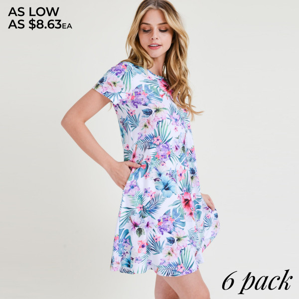 Whatever your dream vacation destination is, just be sure to pack this dress for sitting poolside with a cocktail or going out to dinner!   • Short sleeves, crewneck  • Tropical floral print design  • Soft and stretchy  • Fit and flare silhouette  • Knee length hem  • Two open side pockets holds keys/cash/phone  • Pullover styling  • Imported   Content: 95% Rayon, 5% Spandex   Pack Breakdown: 6pcs/pack. 2S: 2M: 2L