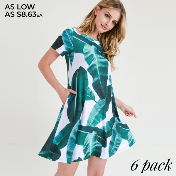 This dress will put you in vacay mode just by looking at it!   • Short sleeves, crewneck  • Palm leaf print design  • Soft and stretchy  • Fit and flare silhouette  • Knee length hem  • Two open side pockets holds keys/cash/phone  • Pull over styling  • Imported   Content: 95% Rayon, 5% Spandex   Pack Breakdown: 6pcs/pack. 2S: 2M: 2L
