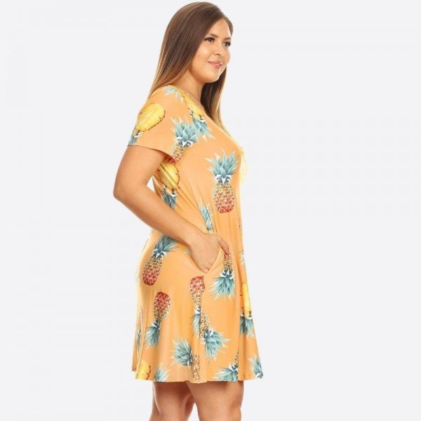 You'll feel as sweet as a pineapple and cute as can be in this fit & flare dress, perfect for a beach vacay!   - Short sleeves, crewneck  - Pineapple print design  - Soft and stretchy  - Fit and flare silhouette  - Knee-length hem  - Two open side pockets hold keys/cash/phone  - Pull over styling  - Imported   Pack Breakdown: 6pcs / pack  Sizes: 2-XL / 2-1X / 2-2X  Composition: 95% Rayon, 5% Spandex
