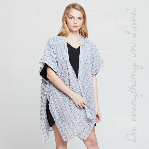 """Do everything in Love brand lightweight bobble kimono.  - One size fits most 0-14 - Approximately 37"""" L - 100% Polyester"""