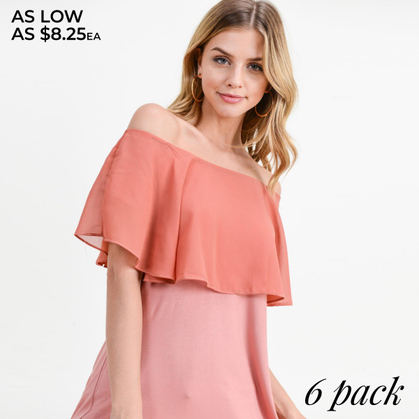 "Women's Solid Color Off Shoulder Ruffle Tunic Top.   - Pack Breakdown: 6pcs/pack - Sizes: 2-S / 2-M / 2-L - Approximately 26"" L - 95% Rayon / 5% Spandex"