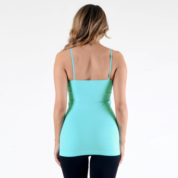 "Women's Solid Seamless Camisole.  • Spaghetti straps  • Seamless design for extra comfort  • Longline hem  • Soft and stretchy  • Curve-Hugging • Body Contouring  • Perfect for layering under sheer tops or by itself  • Imported   - One size fits most 0-14 - Approximately 18"" L - 92% Nylon / 8% Spandex"