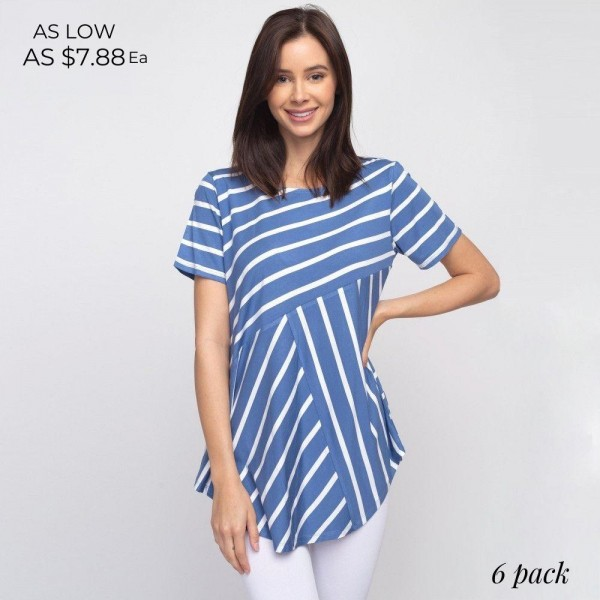 """Striped denim and white short sleeve tunic top. Approximately 27"""" in length.  - Pack Breakdown: 6pcs / pack  - Sizes: 2S / 2M / 2L  - Composition: 95% Rayon, 5% Spandex"""