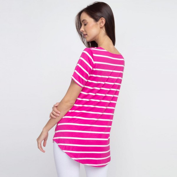 "Striped fuchsia and white short sleeve tunic top. Approximately 27"" in length.  - Pack Breakdown: 6pcs / pack  - Sizes: 2S / 2M / 2L  - Composition: 95% Rayon, 5% Spandex"