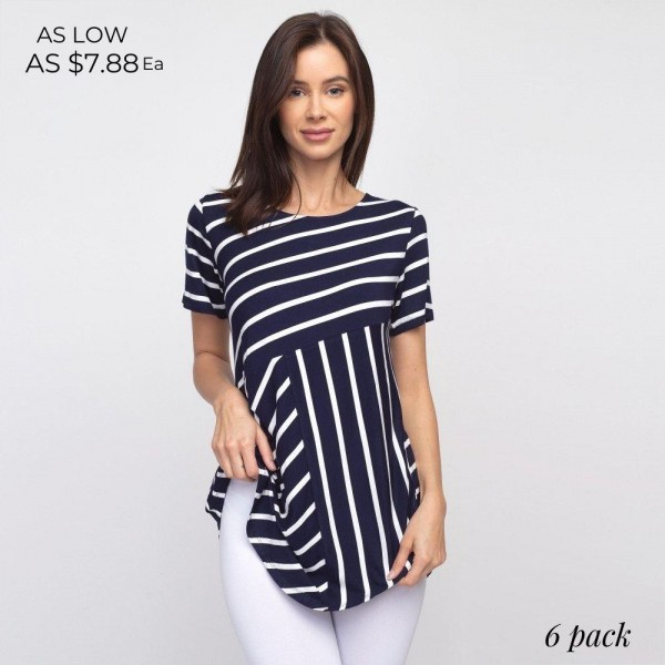 """Striped navy and white short sleeve tunic top. Approximately 27"""" in length.  - Pack Breakdown: 6pcs / pack  - Sizes: 2S / 2M / 2L  - Composition: 95% Rayon, 5% Spandex"""