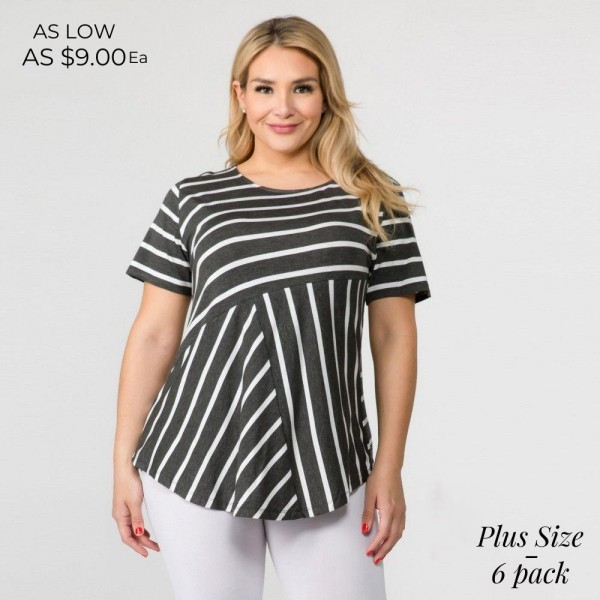 "PLUS size striped short sleeve tunic top. Approximately 30"" in length.  - Pack breakdown: 6pcs / pack  - Sizes: 2-XL / 2-1X / 2-2X  - Composition: 95% Rayon, 5% Spandex"
