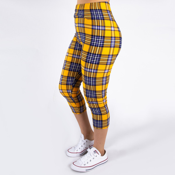 """Peach skin plaid print capri style leggings. Inseam approximately 19"""".  - One size fits most 0-14  - Composition: 92% Polyester, 8% Spandex/Elasthanne"""