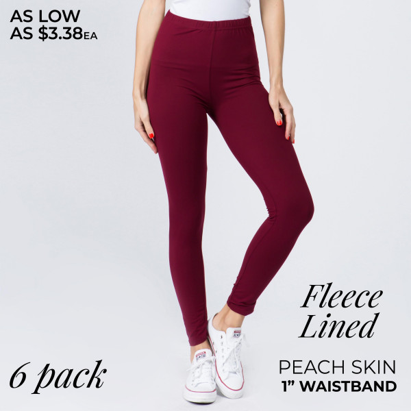 "Women's New Mix Brand 1"" Waistband Solid Peach Skin Fleece Lined Leggings. (6 Pack)  - 6 Pair Per Pack - Sizes: 3-S/M / 3-L/XL - Inseam approximately 27"" L - 92% Polyester, 8% Spandex"