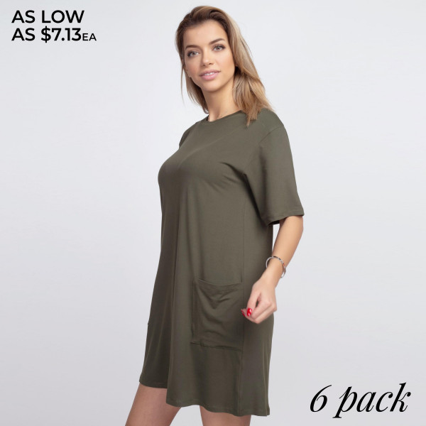"""Women's Solid Color Pocket T-Shirt Dress.  • Short • Crewneck • Two open front pockets • Above the knee length hem • Soft and stretchy fabric • Imported  - Pack Breakdown: 6pcs/pack - Sizes: 2-S / 2-M / 2-L - Approximately 34"""" L - 95% Polyester / 5% Spandex"""