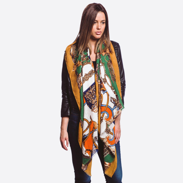 "Lightweight geometric scarf.  - One size fits most  - Approximately 72"" L x 32"" W   - Composition: 100% Viscose"
