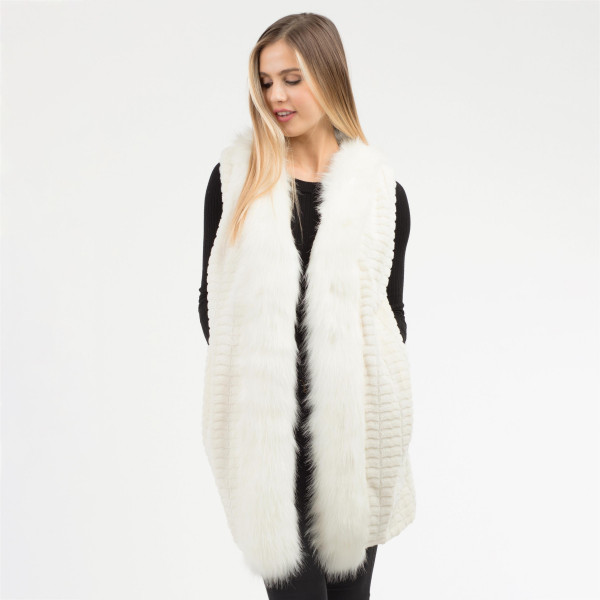 Wholesale faux Fur Vest Pockets One fits most L Polyester