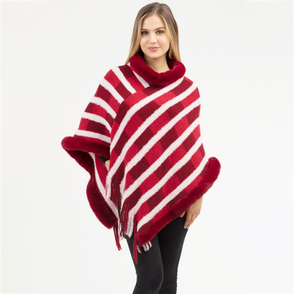 "Block stripe faux fur trim poncho with fringes.  - One size fits most 0-14 - Approximately 37"" in length - 100% Acrylic"