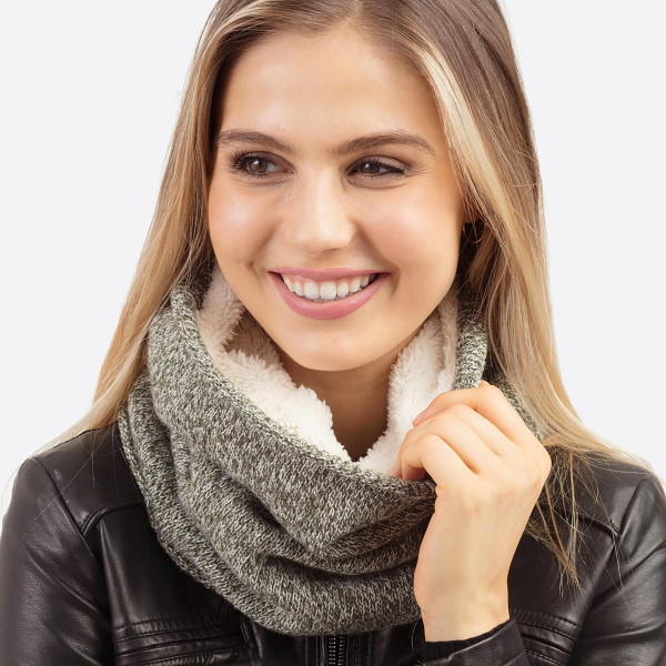 """Sherpa Lined Neck Warmer/Tube Scarf.  - Approximately 11.75"""" W x 13.75"""" L - 65% Acrylic, 35% Wool"""