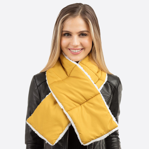 """Solid color sherpa quilted scarf.  - Approximately 7"""" W x 49"""" L - 100% Polyester"""