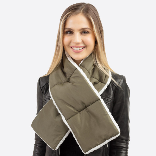"""Sherpa Lined Pull Through Puffy Scarf.  - Approximately 7"""" W x 49"""" L - 100% Polyester"""
