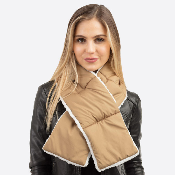 Wholesale sherpa Lined Pull Through Puffy Scarf W L Polyester