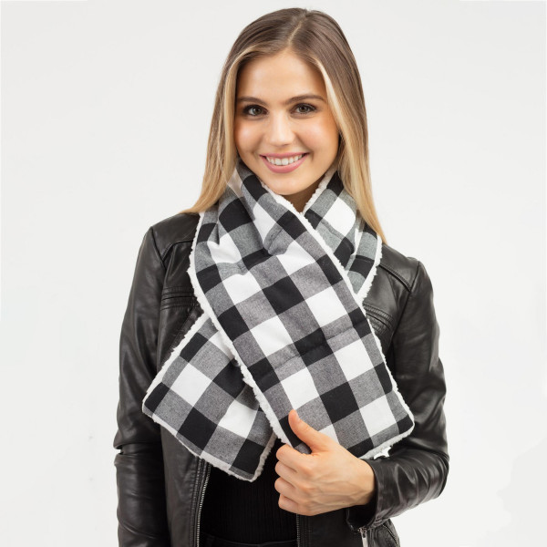 """Buffalo check sherpa quilted scarf.  - Approximately 7"""" W x 49"""" L - 100% Polyester"""