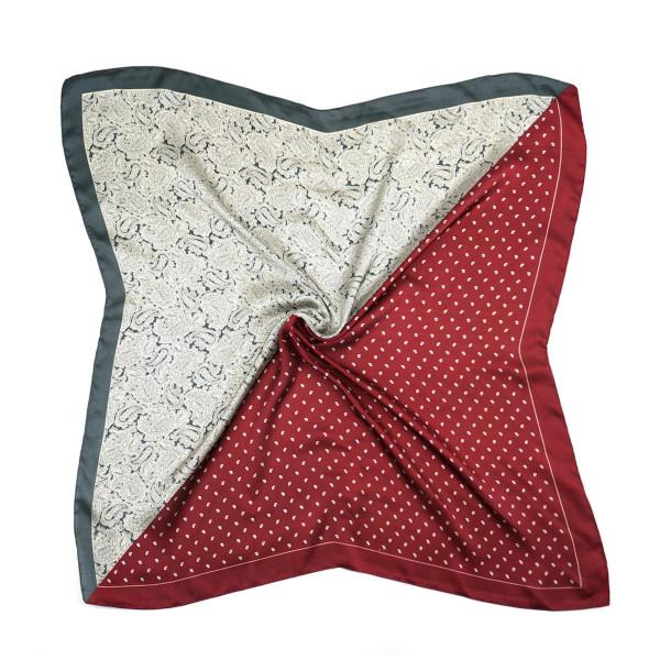 "Half paisley half polka dotted bandana scarf.  - Approximately 27.5"" x 27.5""  - 100% Polyester"