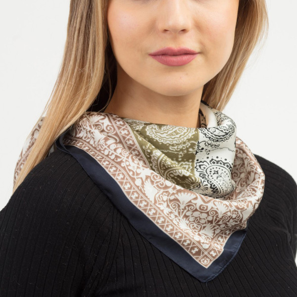 "Paisley geometric bandana scarf.  - Approximately 27.5"" x 27.5""  - 100% Polyester"