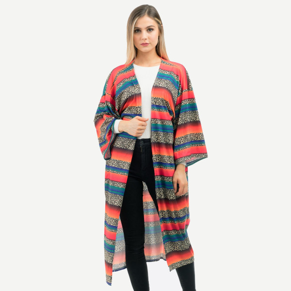 "Women's Lightweight Leopard Print Serape Kimono.  - One size fits most 0-14 - Approximately 51"" L - 100% Polyester"