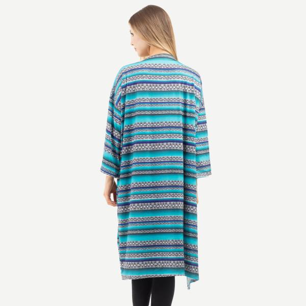 "Women's Turquoise Snakeskin Serape Print Kimono.  - One size fits most 0-14 - Approximately 51"" L - 100% Polyester"