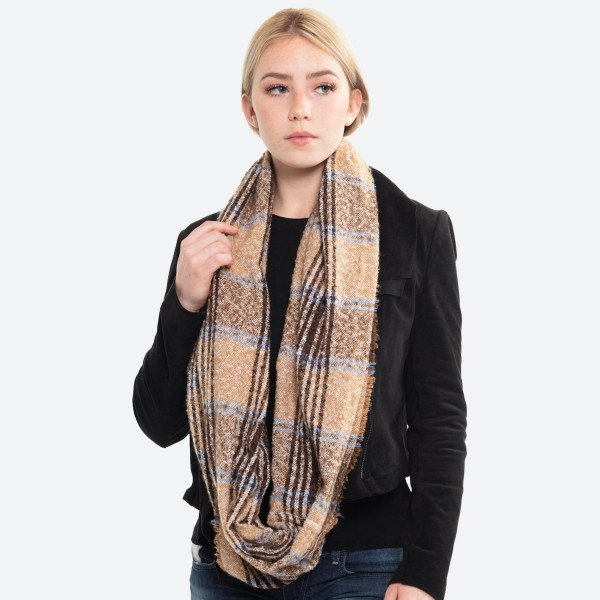 "Multicolor Plaid Infinity Scarf.  - Approximately 21.5"" W x 63"" L  - 100% Polyester"