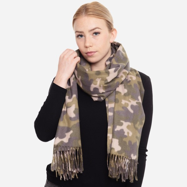 "Oblong Camouflage Scarf Featuring Fringe Tassels.  - Approximately 26"" W x 78"" L - 100% Polyester"