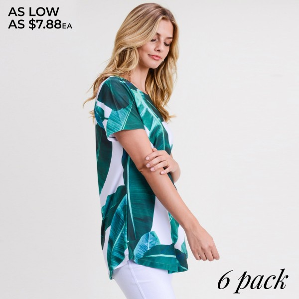"Palm leaf print short sleeve tunic top. Approximately 28"" in length.  • Short sleeves  • Round neck  • Palm leaf print  • Scooped hem  • Soft and stretchy  • Perfect for styling with jeans or shorts  • Imported   - Pack Breakdown: 6pcs / pack  - Sizes: 2S / 2M / 2L  - Composition: 95% Polyester, 5% Spandex"