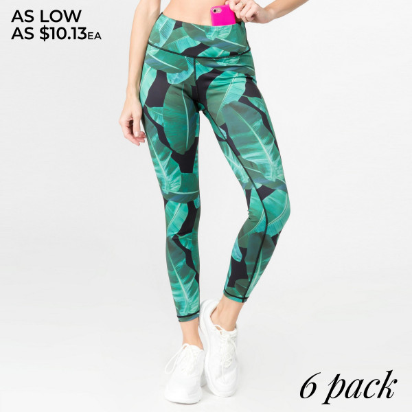 """Palm leaf printed athletic leggings. Inseam approximately 28"""" in length.   • Flat reinforced high rise waistband  • Hidden waistband pocket for keys, phone, cash  • Palm leaf print  • Flat stitched seams prevent chafing  • Triangle crotch gusset eliminates camel toe  • 4 way stretch fabric for a move with you feel  • Moisture wick  • Perfect for the gym, yoga, travel, lounging  • Full length  • Imported   - Pack Breakdown: 2S / 2M / 2L  - Composition: 46% Polyester, 41% Nylon, 13% Spandex"""