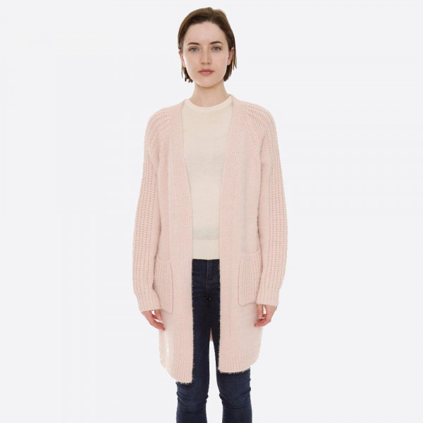 """Solid color fuzzy knit cardigan with front pocket details.  - One size fits most 0-14 - Approximately 30"""" in length - 100% Acrylic"""