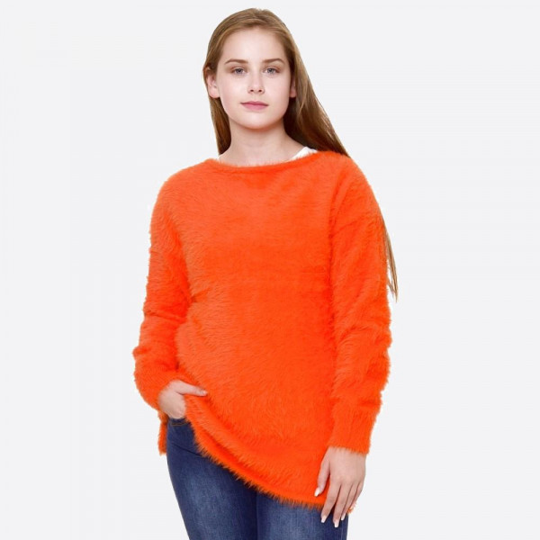 """Solid color soft touch fuzzy knit sweater.  - One size fits most 0-14 - Approximately 26"""" in length - 100% Polyester"""