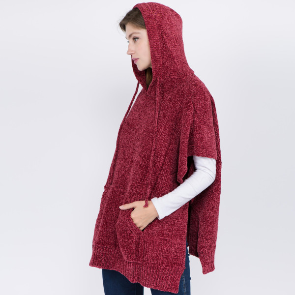 """Chenille pull-over poncho with hood and kangaroo pocket details.  - One size fits most 0-14 - Approximately 28"""" in length - 100% Acrylic"""