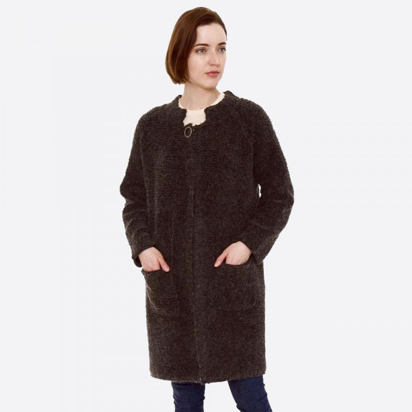 """Heavyweight terry loop cardigan with front pocket details and button closure.  - One size fits most 0-14 - Approximately 32"""" in length - 80% Acrylic, 20% Polyamide"""
