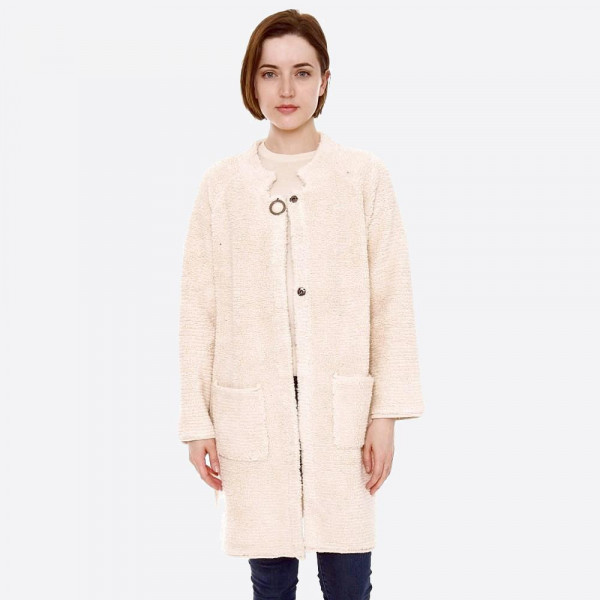Wholesale terry Loop Cloth Coat Cardigan Button Closure Pockets One fits most L