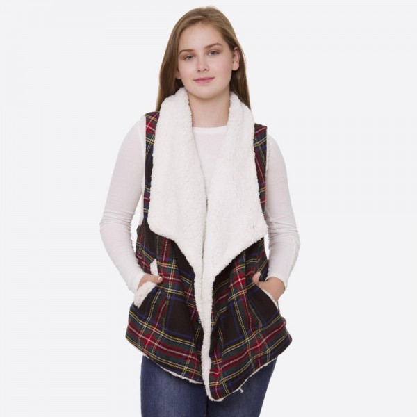 "Tartan Plaid Sherpa Vest with Pockets.  - Pockets - One size fits most 0-14 - Approximately 24"" Long  - 100% Polyester"