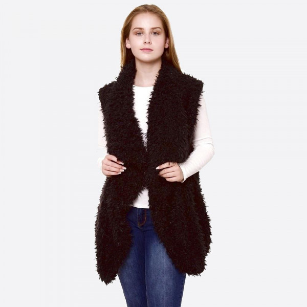 "Women's Faux Fur Sherpa Vest.  - One size fits most 0-14 - Approximately 30"" L  - 100% Polyester"