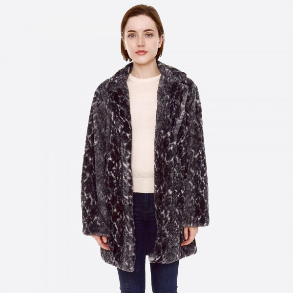 "Faux fur snakeskin coat with crepe satin inside lining.  - Two functional side pockets - Button closure - One size fits most 0-14 - Approximately 32"" L - 100% Polyester"