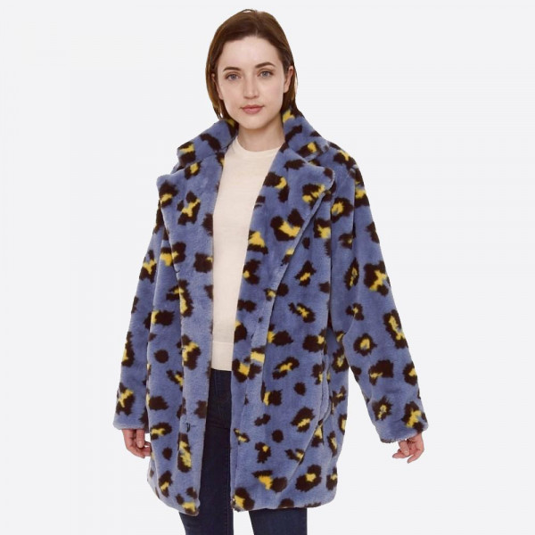 "Faux Fur Leopard Print Coat with Crepe Satin Inside Lining.  - Two Functional Pockets - Hook & Eye Closure - One size fits most 0-14 - Approximately 33"" L - 100% Polyester"