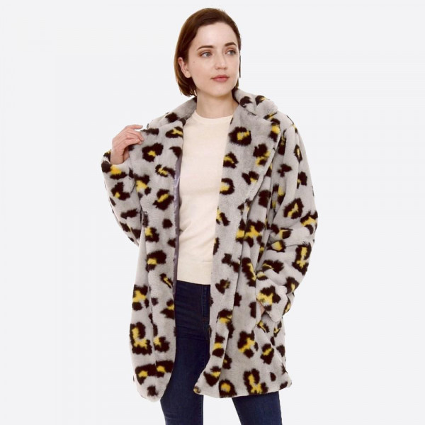 Wholesale faux Fur Leopard Print Coat Crepe Satin Inside Lining Two Functional P