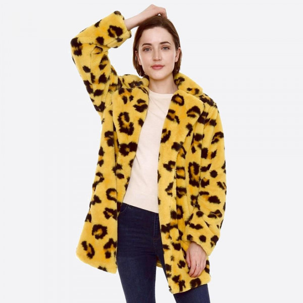 Wholesale faux Fur Leopard Print Coat Crepe Satin Inside Lining Two Functional P