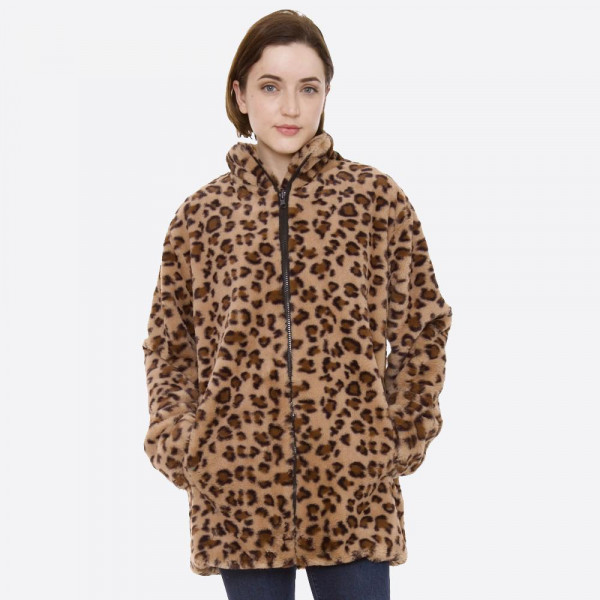 """Faux Fur Leopard Print Coat with Pockets.  - Front Zipper Closure - Pockets  - One size fits most 0-14 - Approximately 29"""" Long - 100% Polyester"""