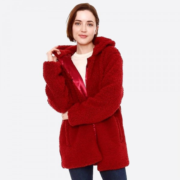 "Hooded sherpa coat with crepe satin inside lining.  - Two functional side pockets - Hook and eye closure - One size fits most 0-14 - Approximately 30"" in length - 100% Polyester"