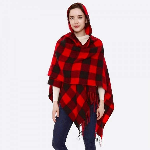 "Hooded buffalo check ruana with fringes.   - One size fits most 0-14 - Approximately 32"" L - 100% Acrylic"