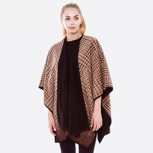 """Reversible Tan Houndstooth Ruana.   - One size fits most 0-14 - Approximately 32"""" L - 100% Polyester"""