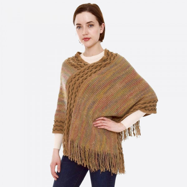 Wholesale multicolor fuzzy knit poncho fringes One fits most L Acrylic