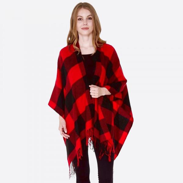 "Women's Buffalo Check Ruana Featuring Fringe Tassel.  - One size fits most - Approximately 40"" L - 100% Acrylic"