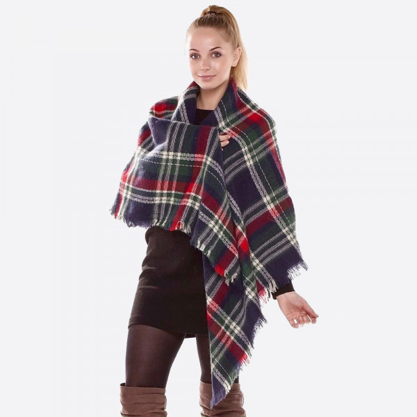 "Navy Plaid Blanket Scarf.  - Approximately 58"" x 58"" - 100% Acrylic"