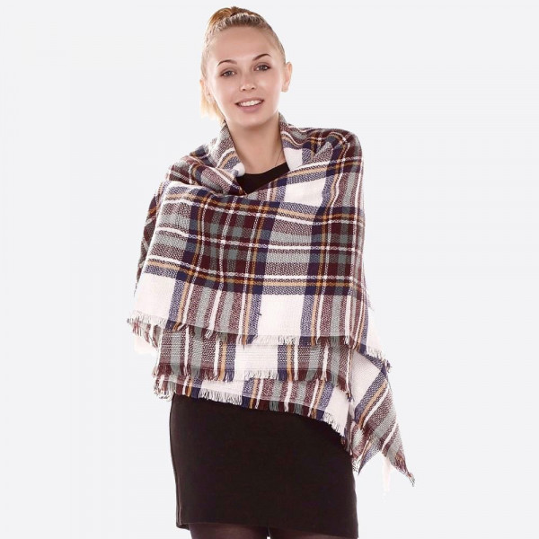 "Ivory Plaid Print Blanket Scarf.  - Approximately 58"" x 58"" - 100% Acrylic"